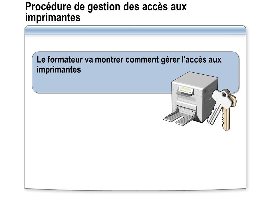 Procédure de gestion des accès aux imprimantes