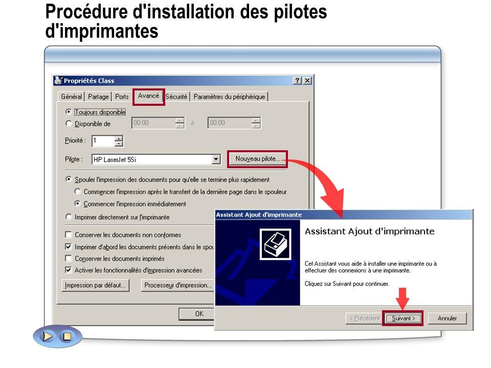 Procédure d installation des pilotes d imprimantes