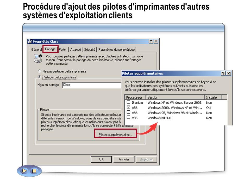 Procédure d ajout des pilotes d imprimantes d autres systèmes d exploitation clients