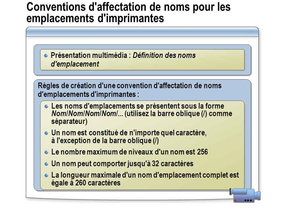 Conventions d affectation de noms pour les emplacements d imprimantes