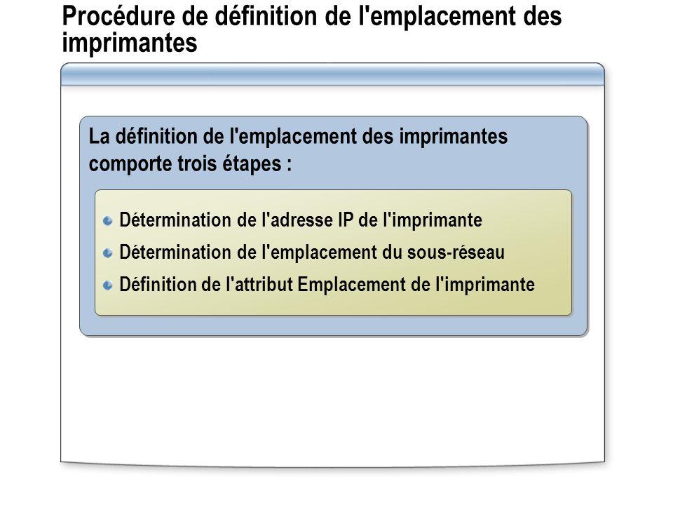 Procédure de définition de l emplacement des imprimantes