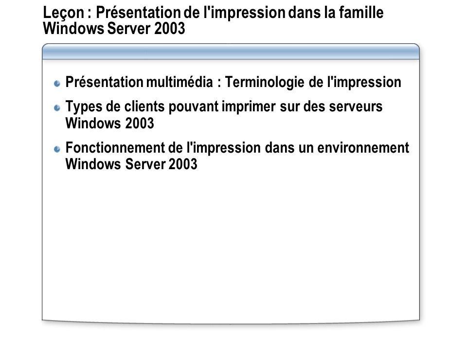 Leçon : Présentation de l impression dans la famille Windows Server 2003
