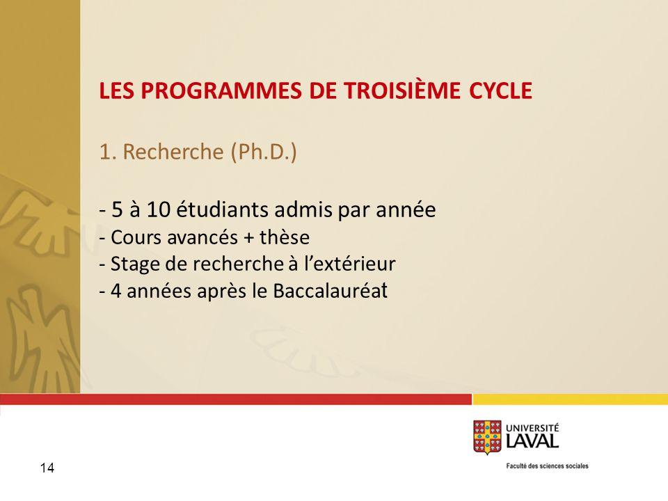 1. Recherche (Ph.D.) - 5 à 10 étudiants admis par année