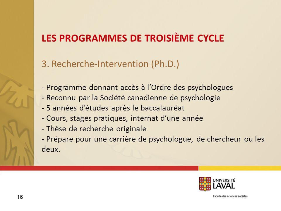 3. Recherche-Intervention (Ph.D.)