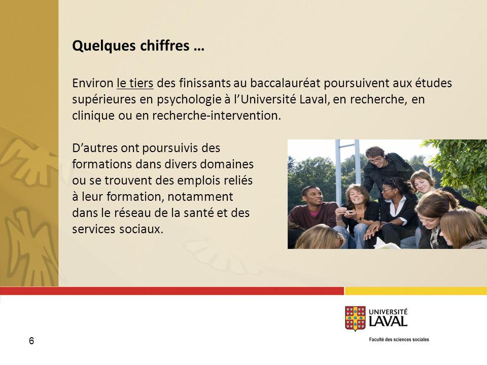 Quelques chiffres … Environ le tiers des finissants au baccalauréat poursuivent aux études supérieures en psychologie à l'Université Laval, en recherche, en clinique ou en recherche-intervention.