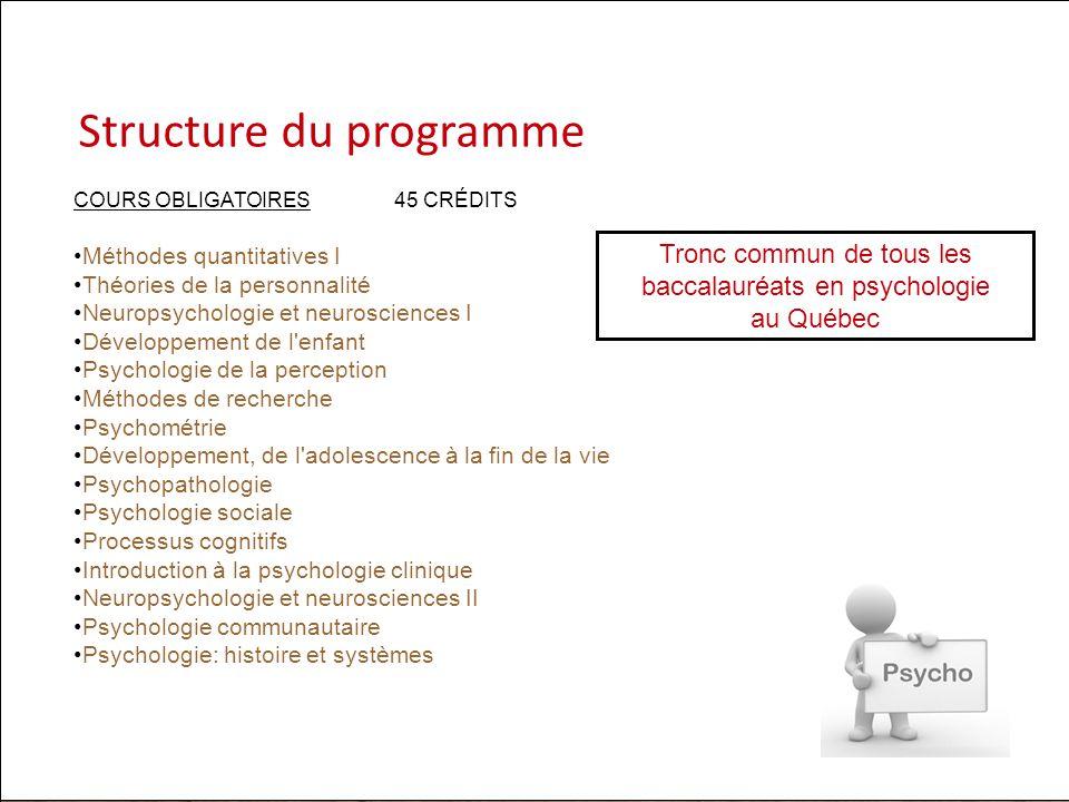 Tronc commun de tous les baccalauréats en psychologie au Québec