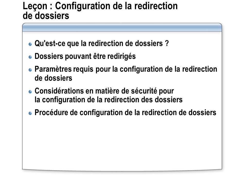 Leçon : Configuration de la redirection de dossiers