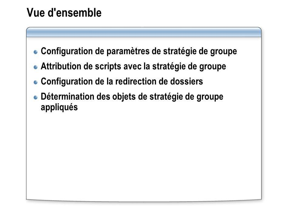 Vue d ensemble Configuration de paramètres de stratégie de groupe