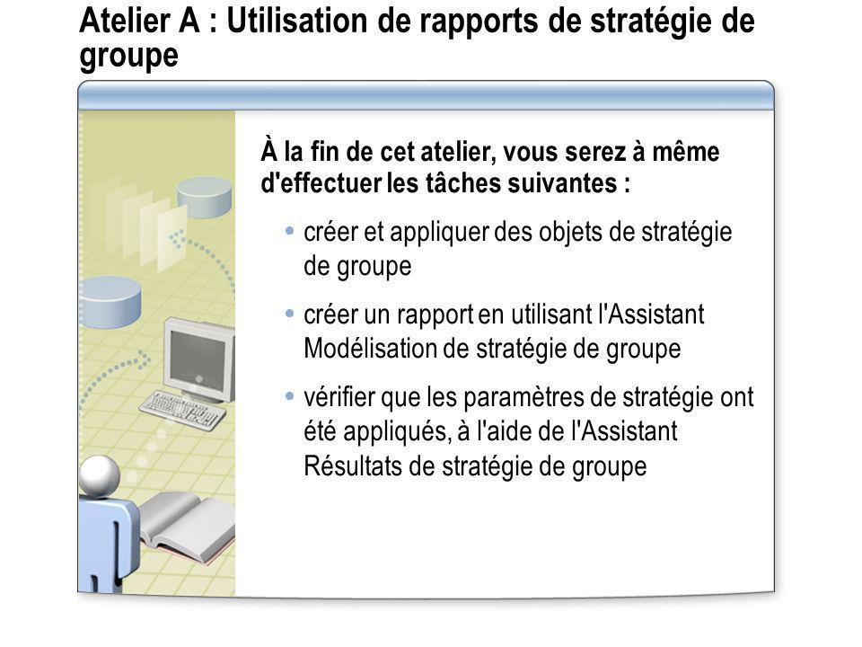 Atelier A : Utilisation de rapports de stratégie de groupe