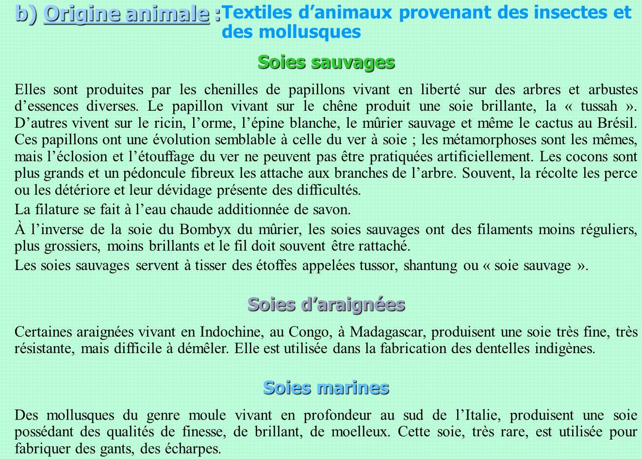 b) Origine animale : Textiles d'animaux provenant des insectes et des mollusques. Soies sauvages.