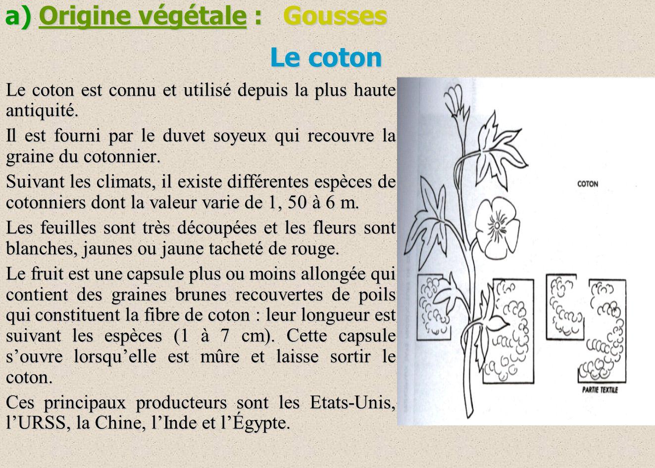 Le coton a) Origine végétale : Gousses