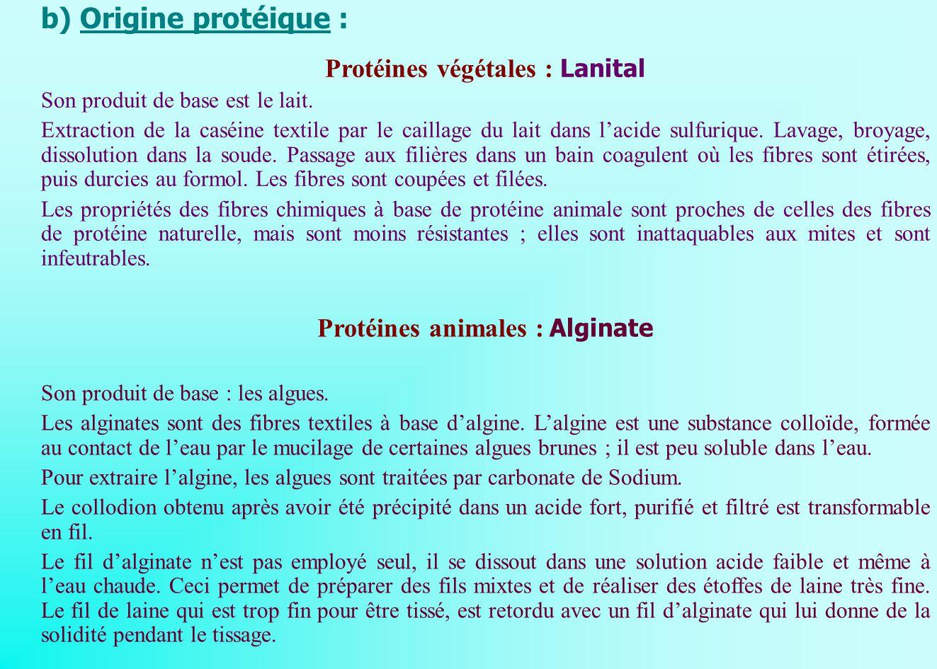 Protéines végétales : Lanital Protéines animales : Alginate