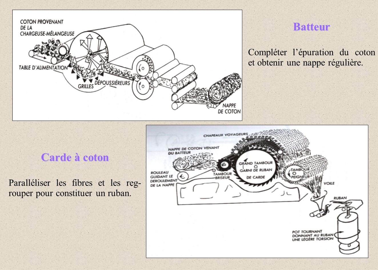 Batteur Compléter l'épuration du coton et obtenir une nappe régulière. Carde à coton.