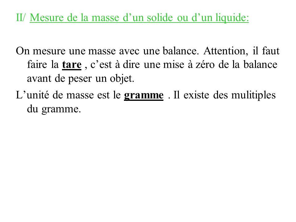 II/ Mesure de la masse d'un solide ou d'un liquide: