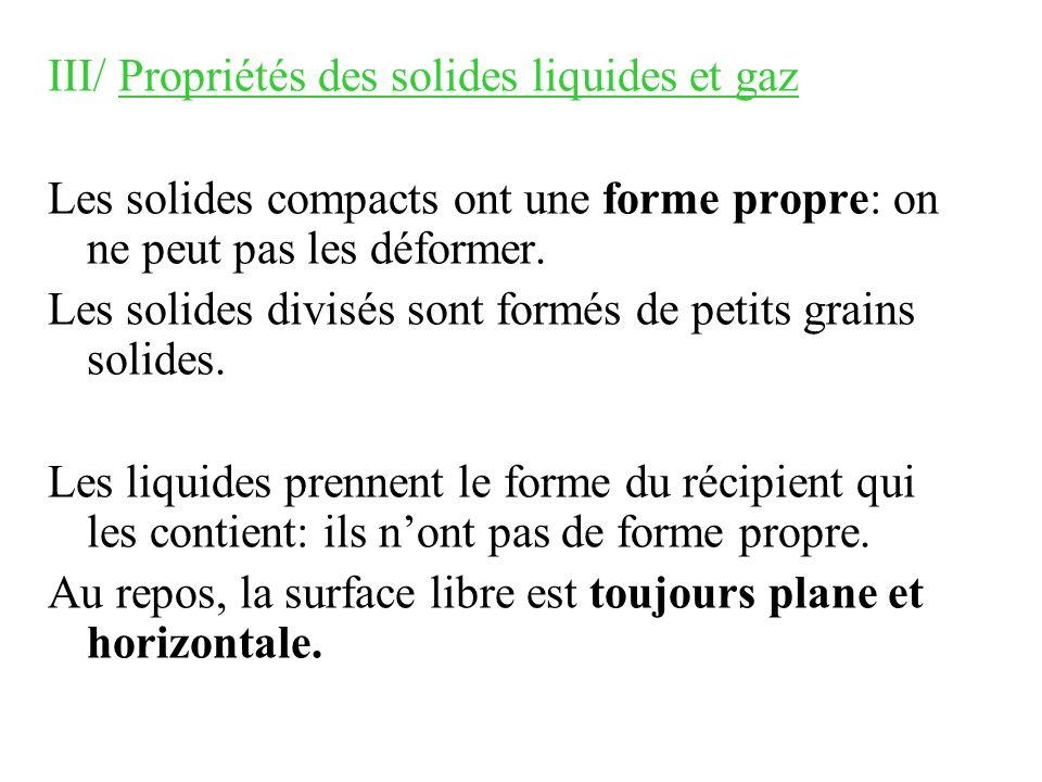 III/ Propriétés des solides liquides et gaz