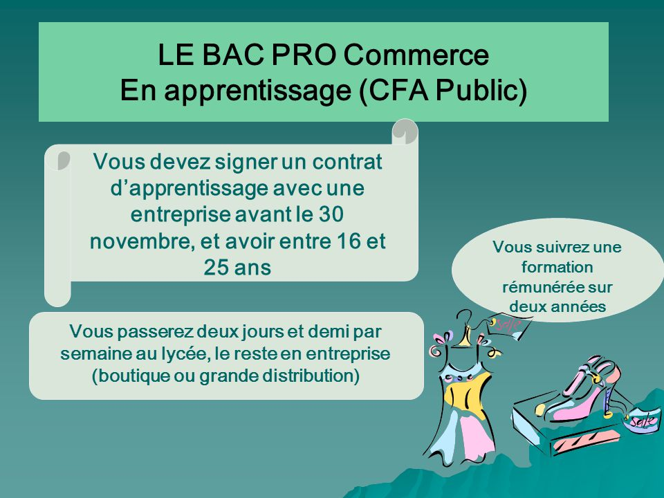 LE BAC PRO Commerce En apprentissage (CFA Public)