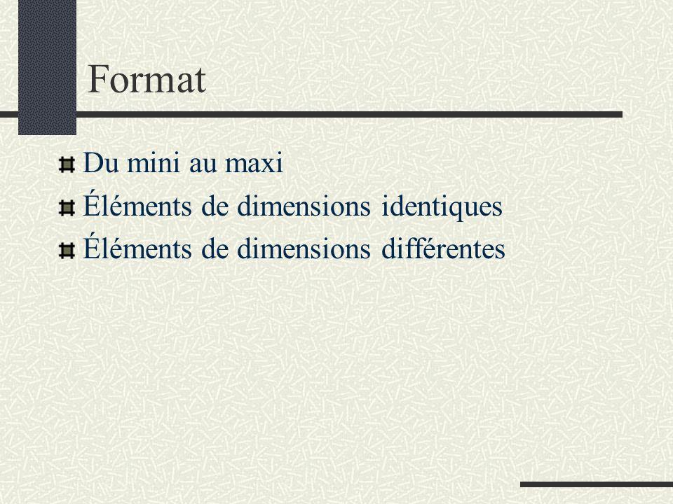 Format Du mini au maxi Éléments de dimensions identiques