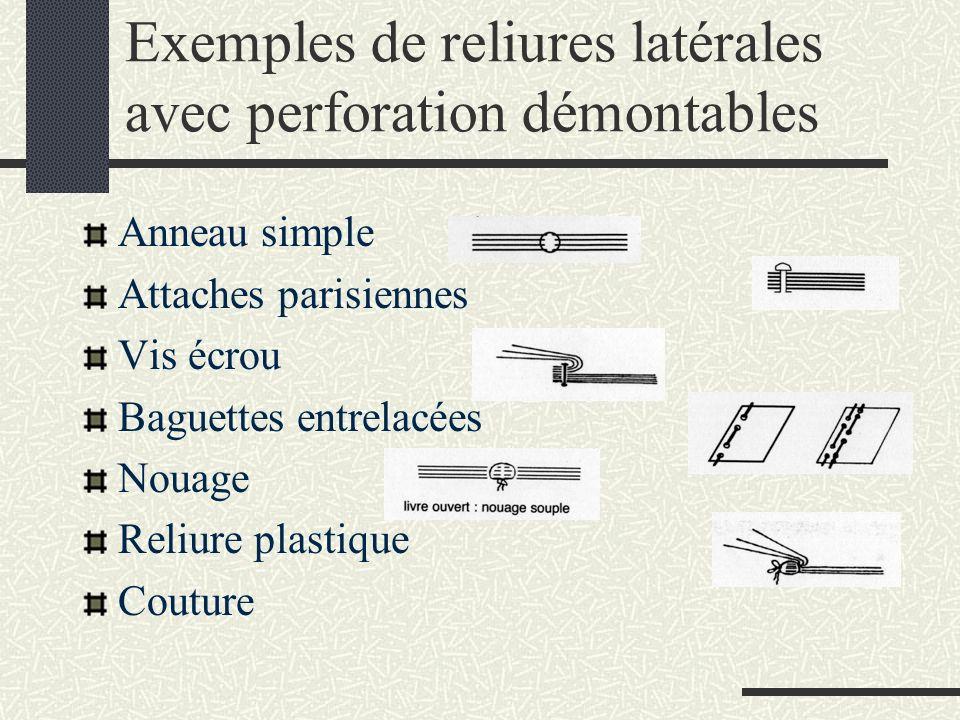 Exemples de reliures latérales avec perforation démontables