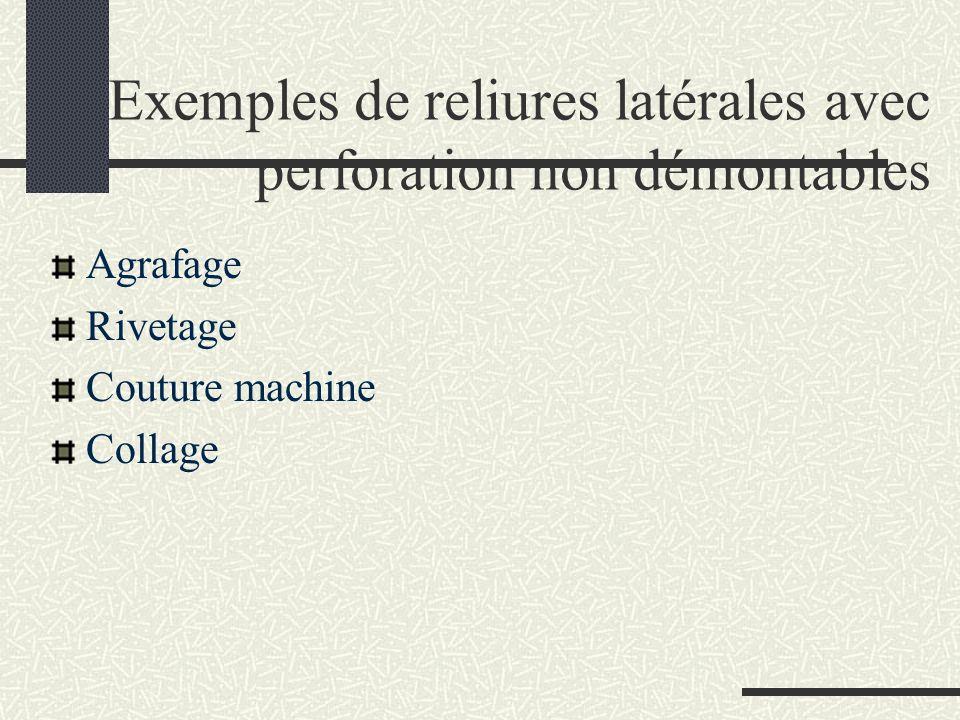 Exemples de reliures latérales avec perforation non démontables