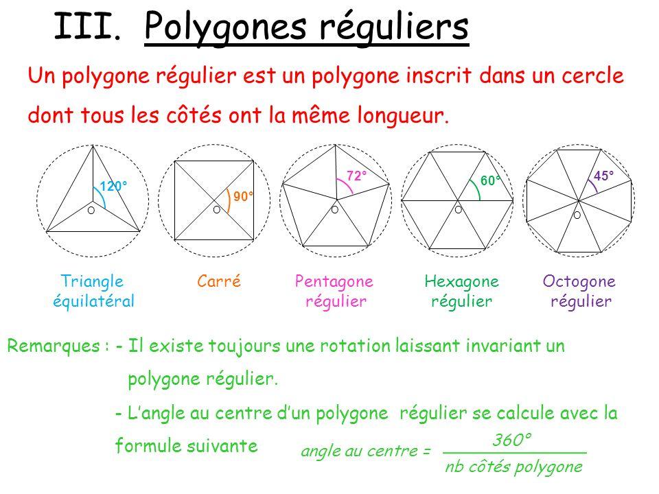 III. Polygones réguliers
