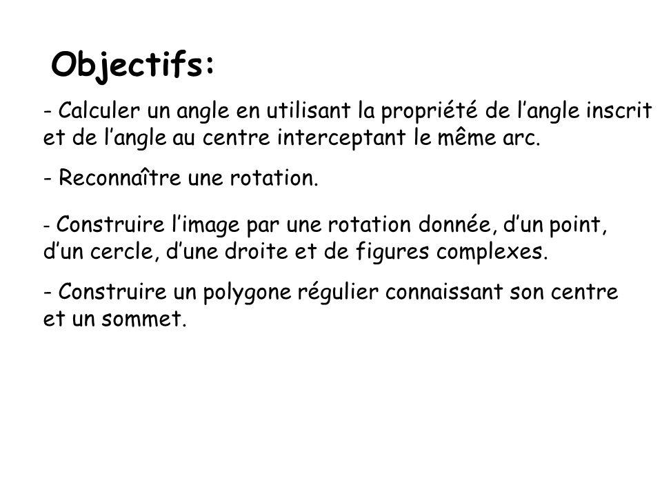 Objectifs:Calculer un angle en utilisant la propriété de l'angle inscrit. et de l'angle au centre interceptant le même arc.