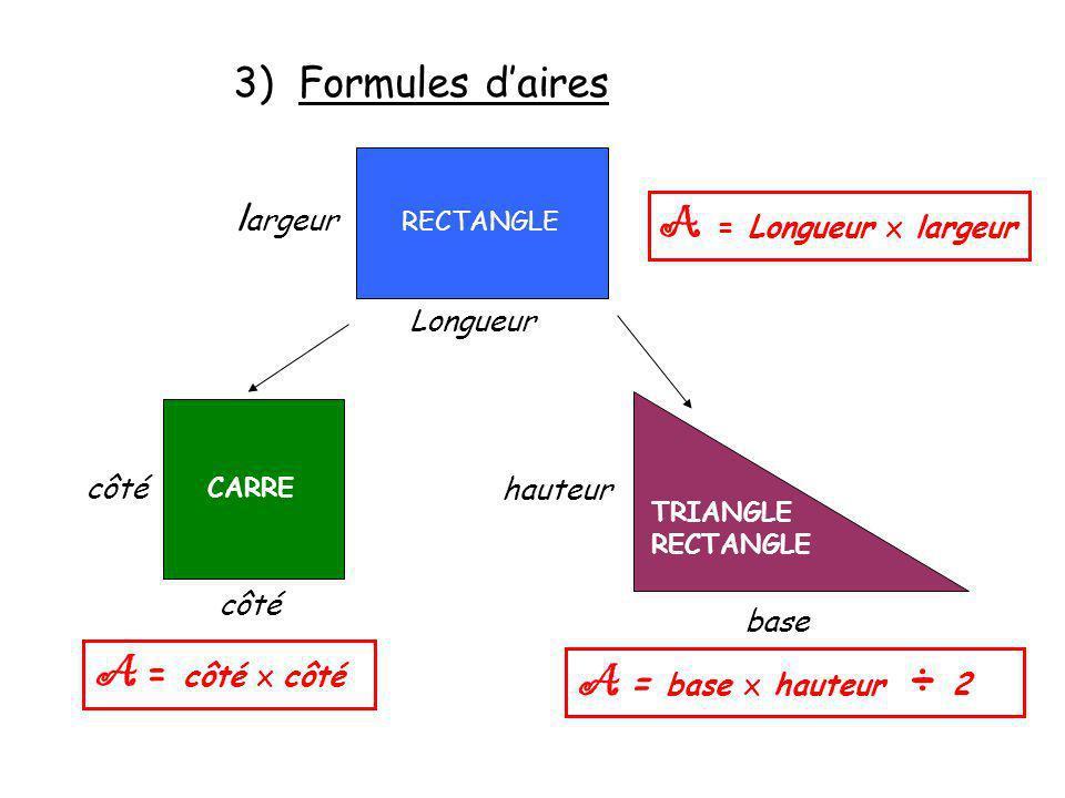 A = Longueur x largeur A = côté x côté A = base x hauteur ÷ 2