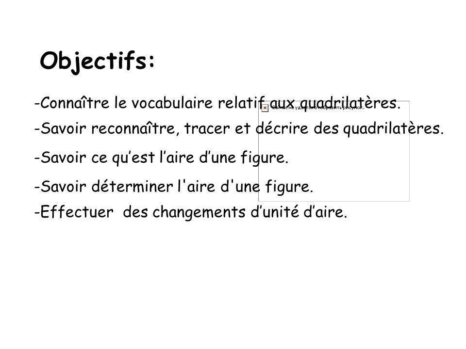 Objectifs: Connaître le vocabulaire relatif aux quadrilatères.