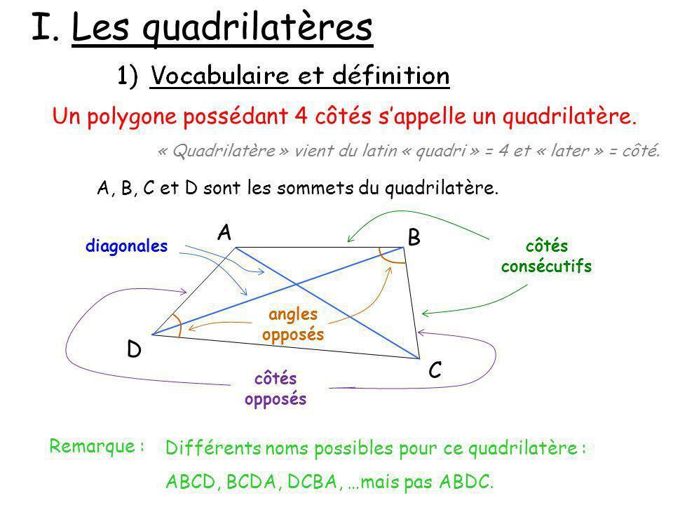 I. Les quadrilatères Un polygone possédant 4 côtés s'appelle un quadrilatère. « Quadrilatère » vient du latin « quadri » = 4 et « later » = côté.