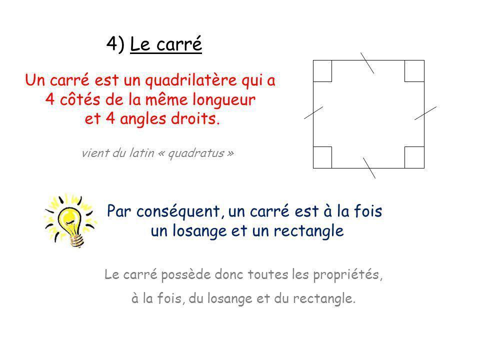 4) Le carré Un carré est un quadrilatère qui a