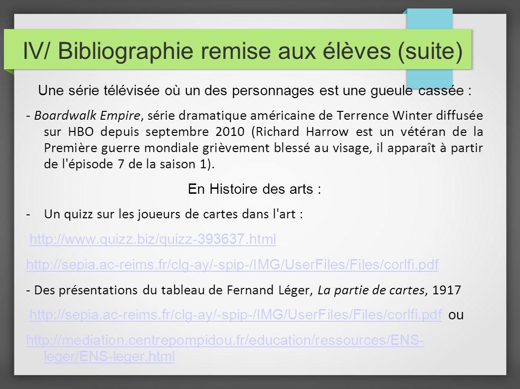 IV/ Bibliographie remise aux élèves (suite)