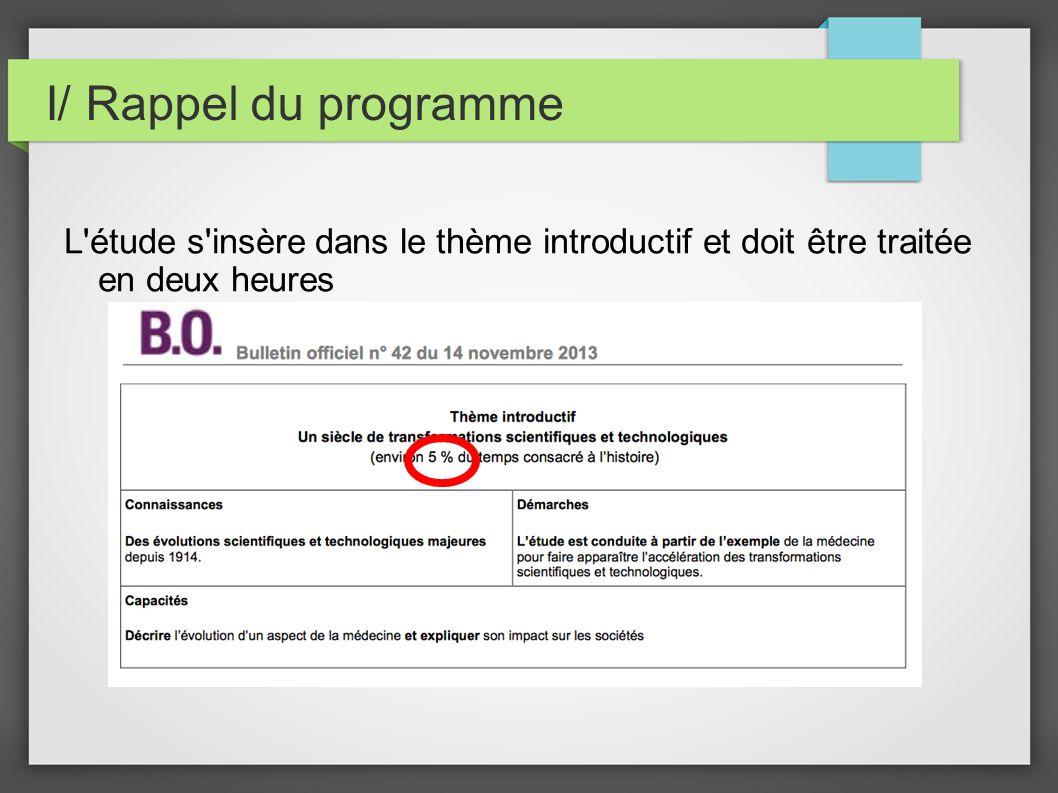 I/ Rappel du programme L étude s insère dans le thème introductif et doit être traitée en deux heures.