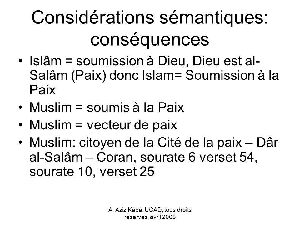 Considérations sémantiques: conséquences