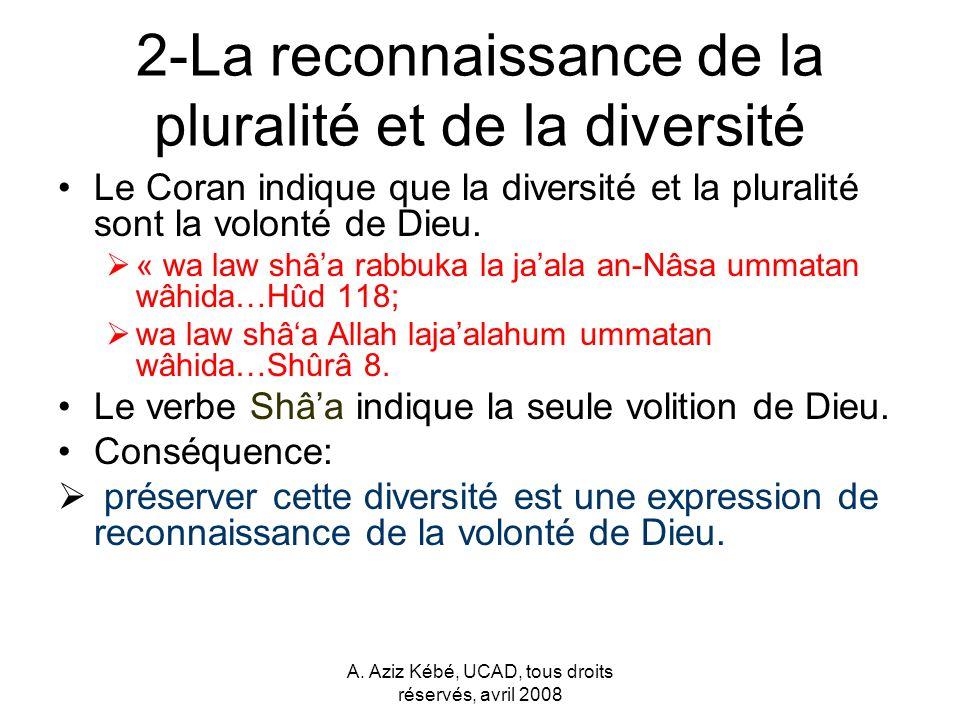 2-La reconnaissance de la pluralité et de la diversité