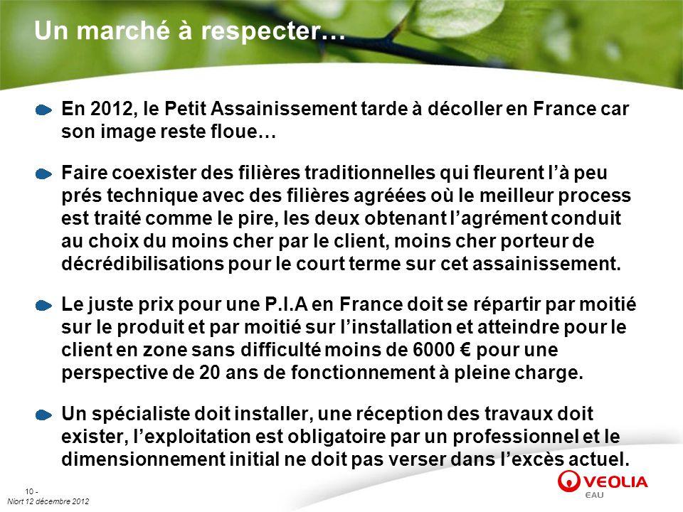 Un marché à respecter… En 2012, le Petit Assainissement tarde à décoller en France car son image reste floue…
