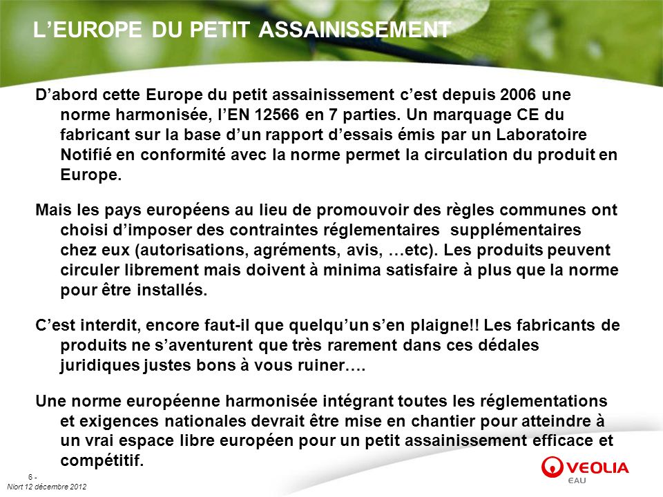 L'EUROPE DU PETIT ASSAINISSEMENT