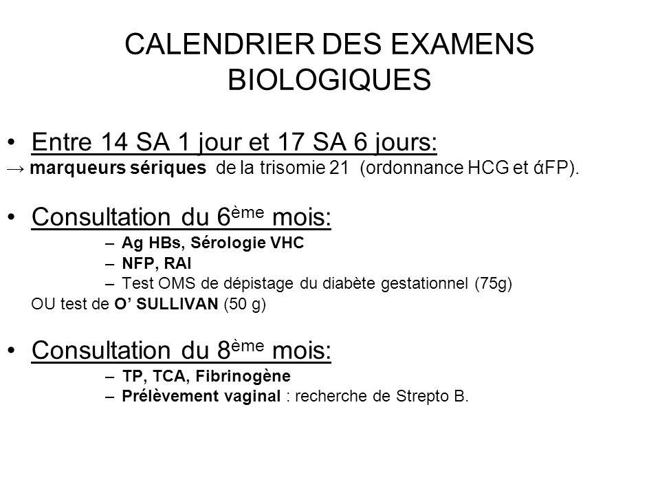 CALENDRIER DES EXAMENS BIOLOGIQUES