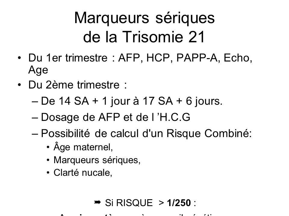 Marqueurs sériques de la Trisomie 21