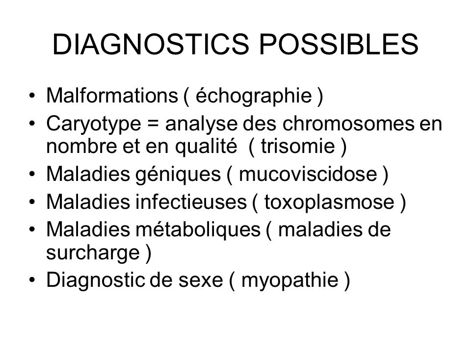 DIAGNOSTICS POSSIBLES