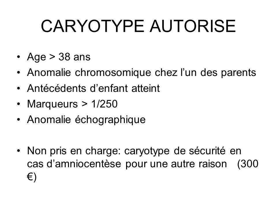 CARYOTYPE AUTORISE Age > 38 ans