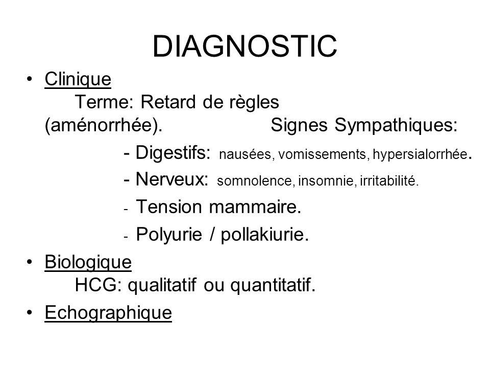 DIAGNOSTIC Clinique Terme: Retard de règles (aménorrhée). Signes Sympathiques: - Digestifs: nausées, vomissements, hypersialorrhée.