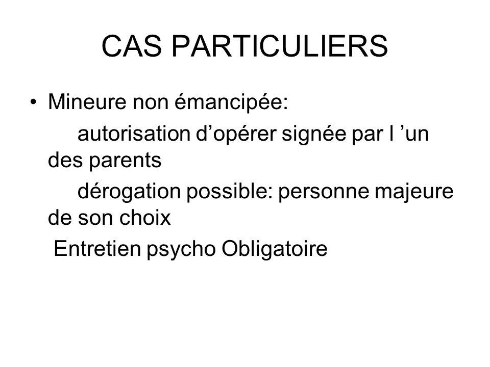 CAS PARTICULIERS Mineure non émancipée: