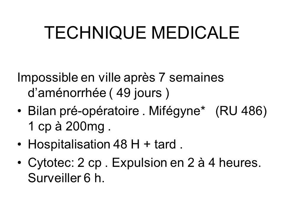 TECHNIQUE MEDICALE Impossible en ville après 7 semaines d'aménorrhée ( 49 jours ) Bilan pré-opératoire . Mifégyne* (RU 486) 1 cp à 200mg .