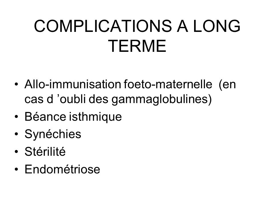 COMPLICATIONS A LONG TERME