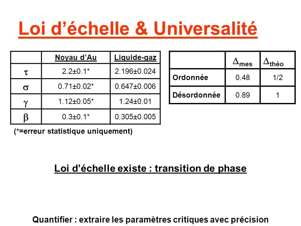 Loi d'échelle & Universalité