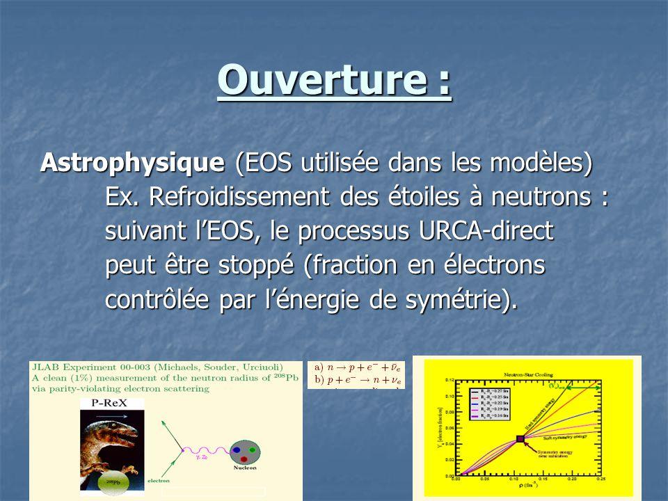 Ouverture : Astrophysique (EOS utilisée dans les modèles)
