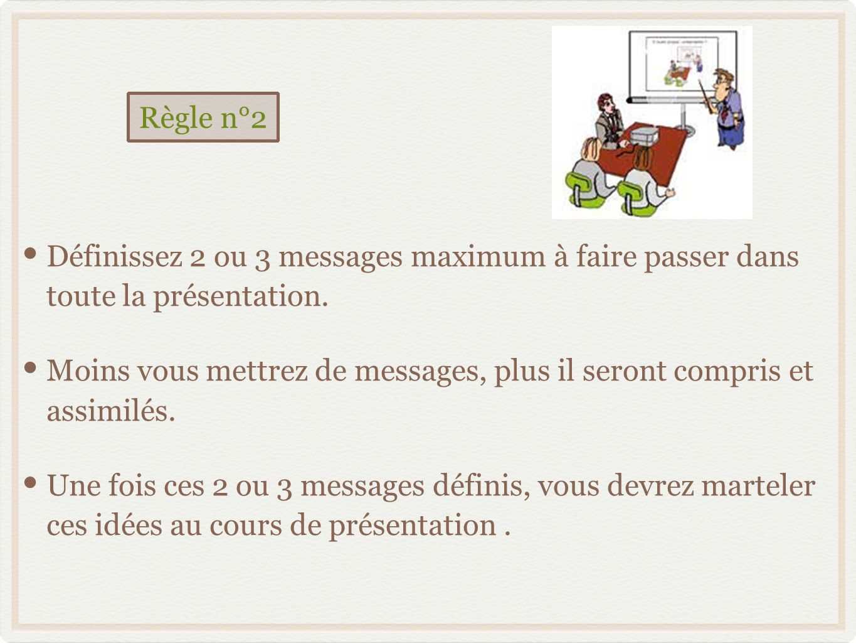 Règle n°2 Définissez 2 ou 3 messages maximum à faire passer dans toute la présentation.