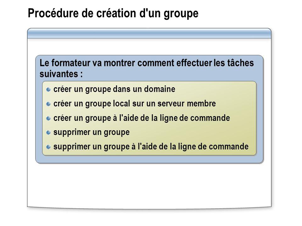 Procédure de création d un groupe