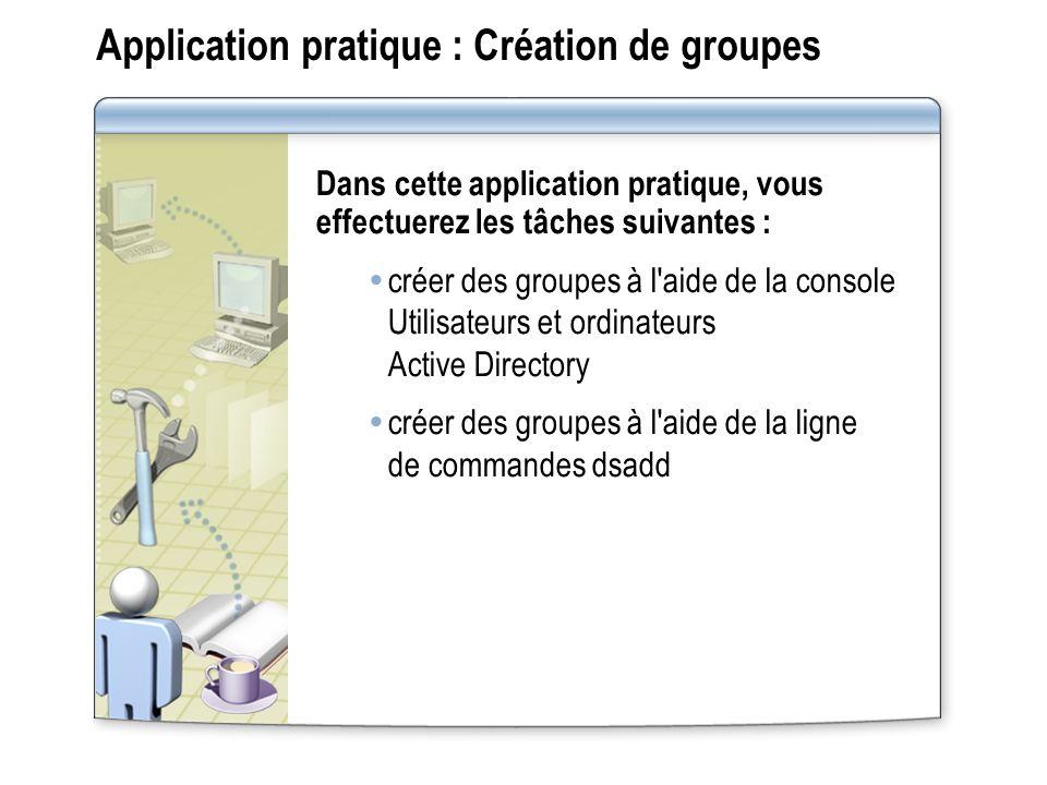 Application pratique : Création de groupes
