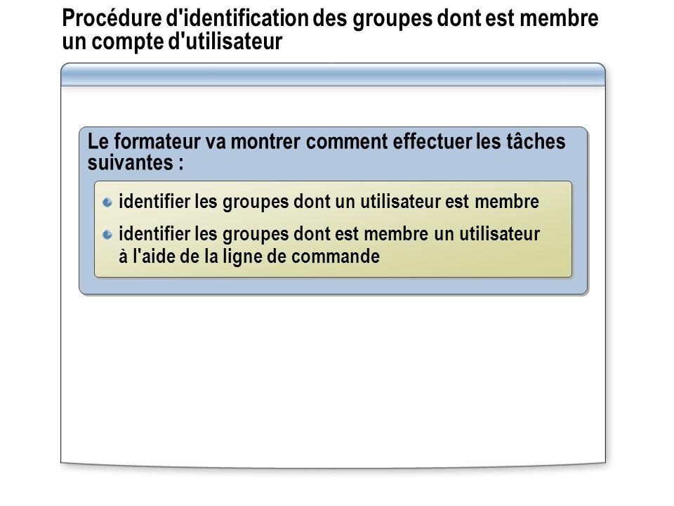 Procédure d identification des groupes dont est membre un compte d utilisateur