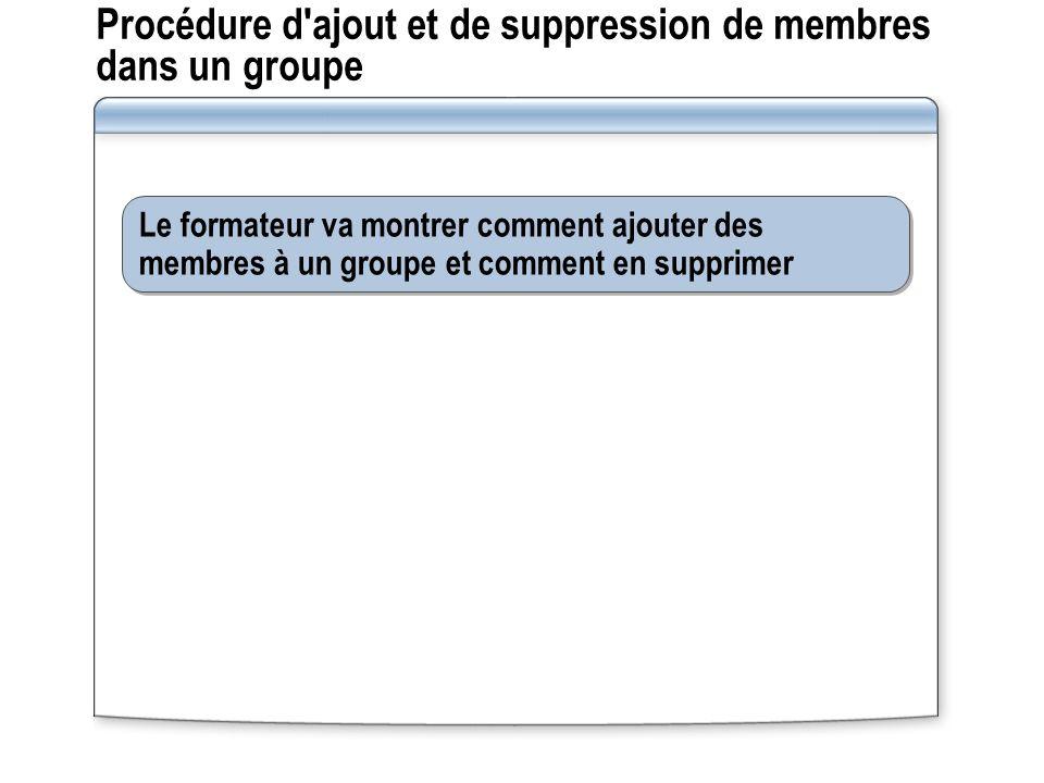 Procédure d ajout et de suppression de membres dans un groupe